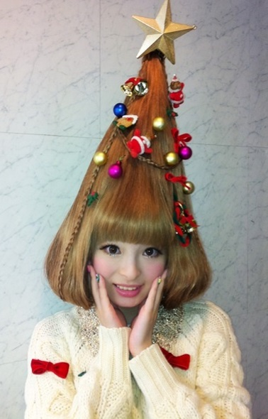 Christmas Hair Shaped Like a Christmas Tree