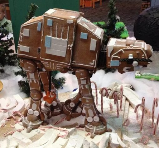 Imperial AT-AT of gingerbread house