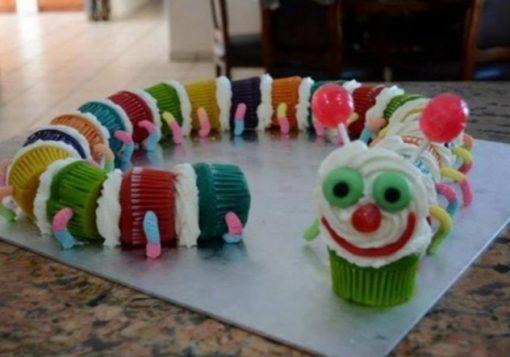 Caterpillar Made From Cupcakes