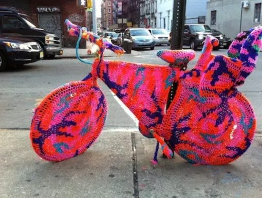 Bicycle Repurposed as knitting Art