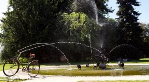 Bicycle Repurposed as an Outdoor Fountain