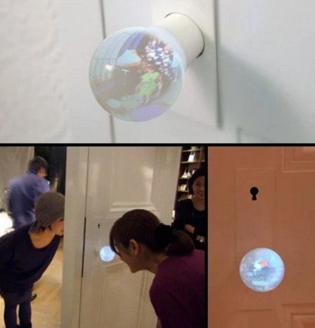 Door knob that shows what is in the room behind