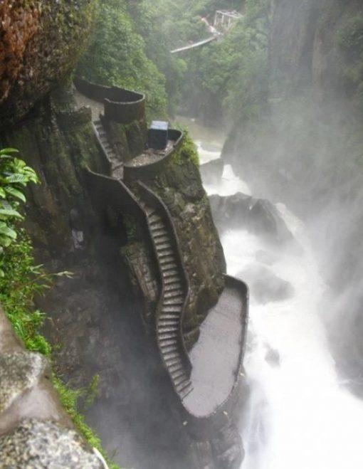 Staircase in Pailon del Diablo, Banos, Ecuador