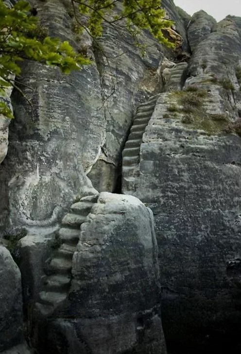 Staircase in Elbe Sandstone Mountains Dresden