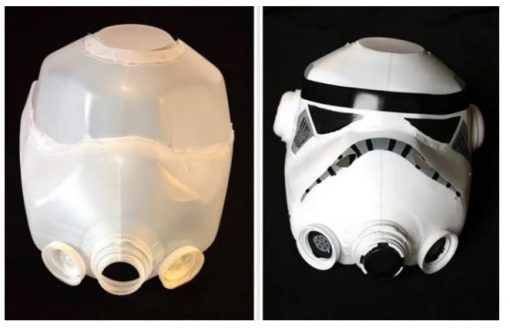 Storm Trooper Helmet Made With Empty Plastic Milk Bottles