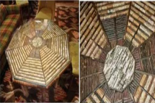 Coffee table made with corks