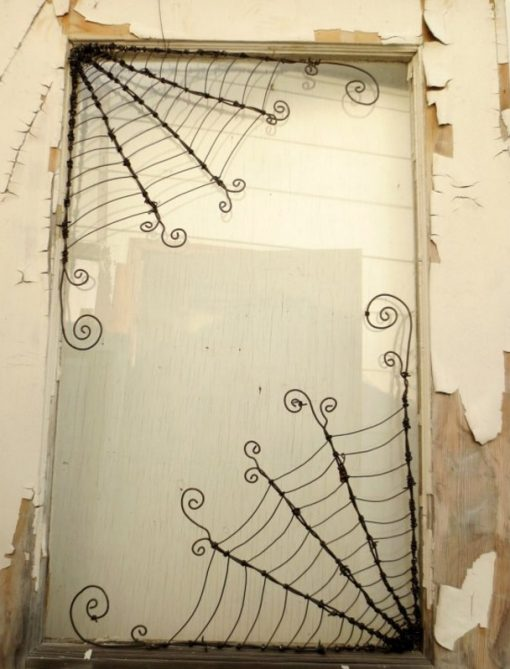 Spider Webs made from Barbed Wire