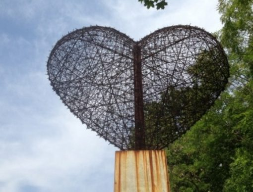 Heart Statue made from Barbed Wire