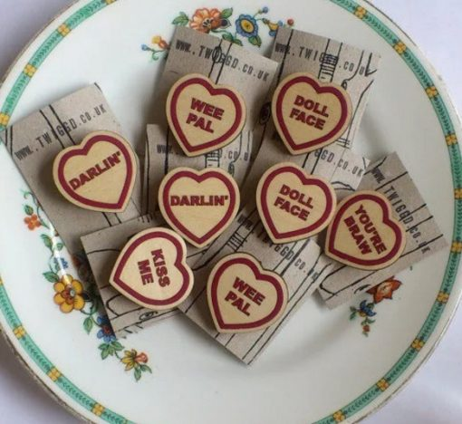 Wooden Love Heart Brooch