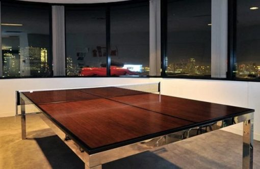 Conference table made into a table tennis game