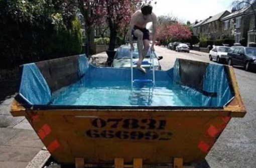 Swimming Pool Made With a Refuse Skip