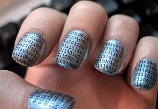 Binary Silver Nail Art