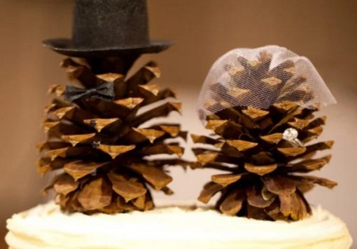 Pine Cones Turned into wedding toppers