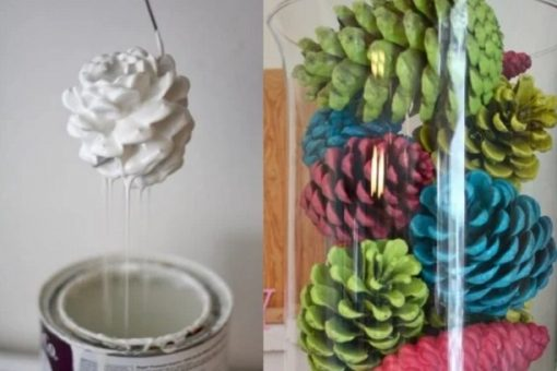 Paint dipped pine cones