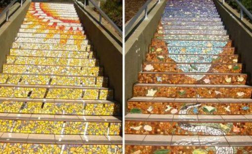 Mosaic artwork on stairs