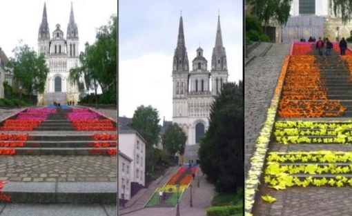 Multi-coloured origami artwork on stairs