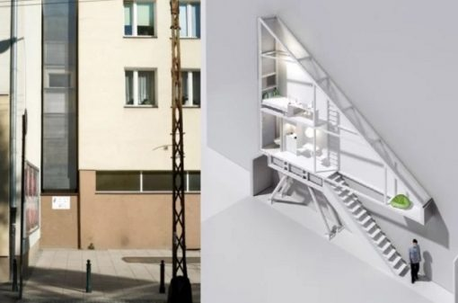 Thin house in Warsaw, Poland