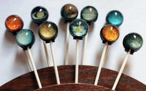 Planet themed lollipops