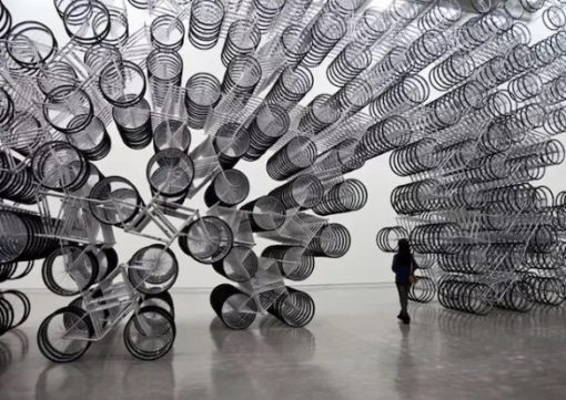 Stacked Bicycles Made into Art