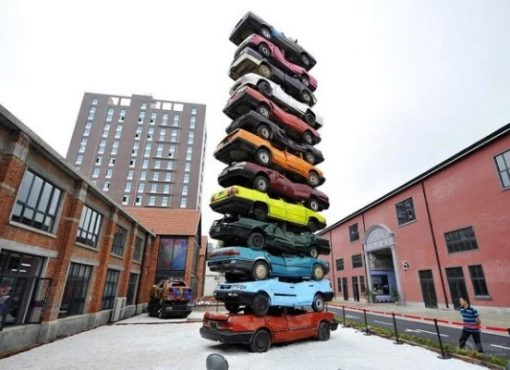Stacked Cars Made into Art