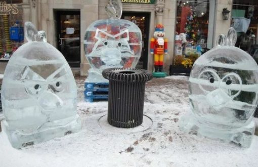 Angry Birds Inspired Ice Sculpture