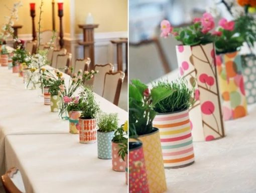 Table Plant Pots wrapped with used wrapping paper