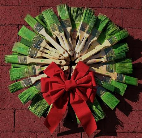 Recycled Paint Brushes Turned into wreath