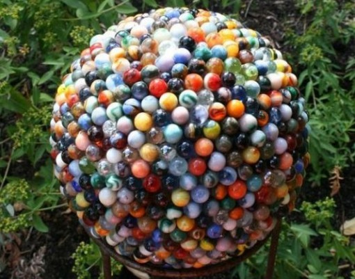 Glass Marbles Used To Make a Garden Sculpture