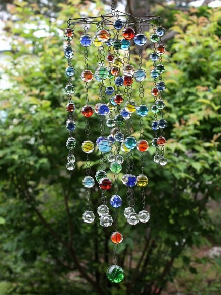 Glass Marbles Used To Make Garden Mobile