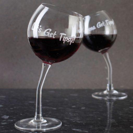 Tipsy Wine Glass