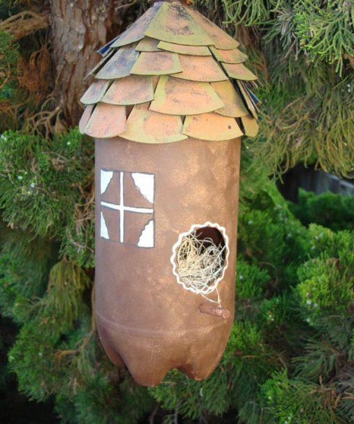 Empty Plastic Pop Bottle Transformed Into a Bird House