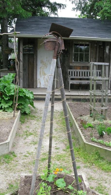 Garden Tools Transformed Into a Trellis