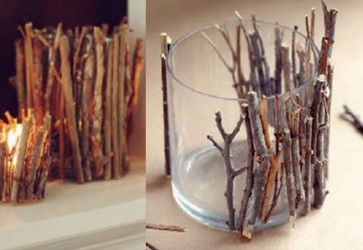 Twigs and Branches Transformed Into a Candle Holder