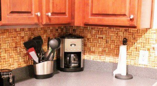 Kitchen Splash Back Made From Corks