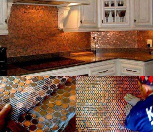 Kitchen Splash Back Made With Coins