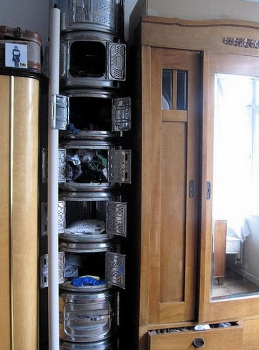 Recycled Washing Machine Drums Turned Into Stackable Storage