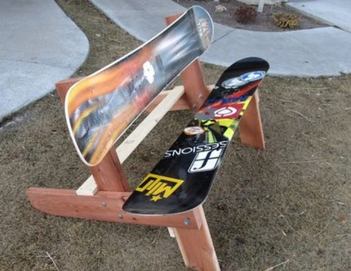 Snowboards repurposed as a bench