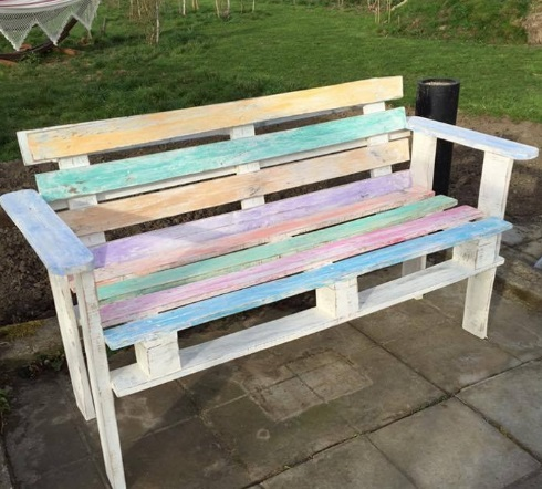 Pallets repurposed as a bench