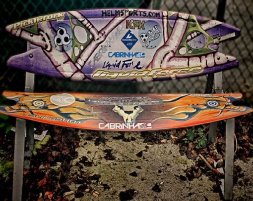 Surfboards repurposed as a bench