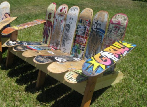Skateboards repurposed as a bench