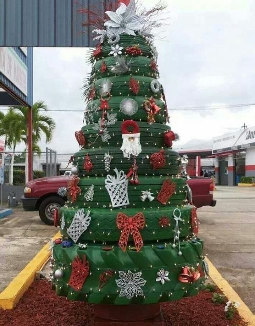 Christmas Tree Made From Recycled Tyres