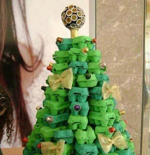 Christmas Tree Made From Recycled Egg Cartons