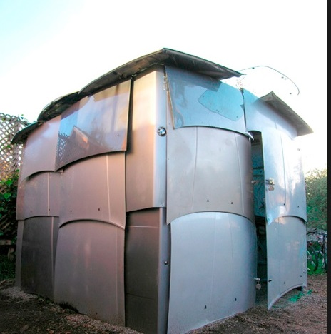 Car Hoods Transformed Into a Garden Shed
