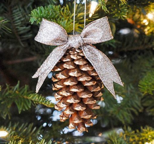 Pine Cones Recycled Into Christmas Tree Decorations