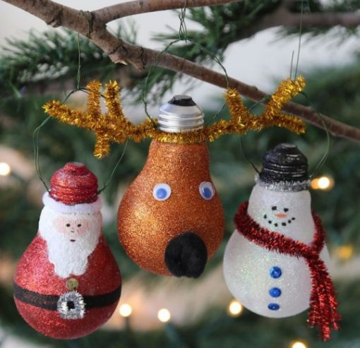 Broken Lightbulbs Recycled Into Christmas Tree Decorations