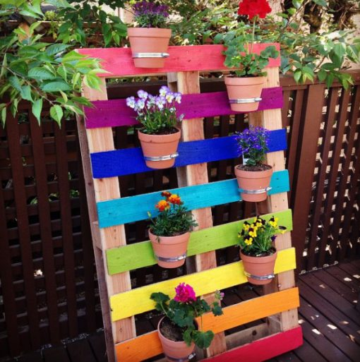 Old Wooden Pallet Transformed Into a Pot Plant Wall